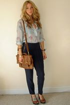 blue vintage blouse - brown Primark - blue Topshop pants - brown next shoes