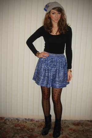silver hat - black H&M top - blue skirt - black tights - black boots