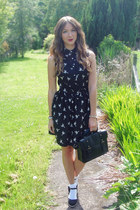 black Primark dress - black satchel Matalan bag - white frill socks - black espa
