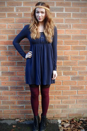 black F&F boots - navy Primark dress - crimson H&M socks - light orange Topshop
