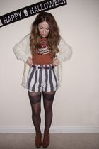 orange Topshop t-shirt - beige Yayer cardigan - beige vintage shorts - black Top
