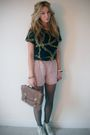 Blue-vintage-t-shirt-pink-asos-shorts-brown-primark-bag-black-tights-whi