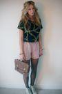 Blue-vintage-t-shirt-pink-asos-shorts-brown-primark-bag-black-tights-whi