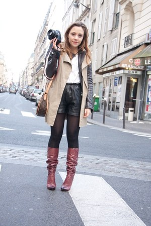 dark gray leather balenciaga jacket - brick red leather Louis Vuitton boots