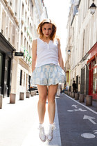 periwinkle coton Louis Vuitto skirt - white coton vintage top