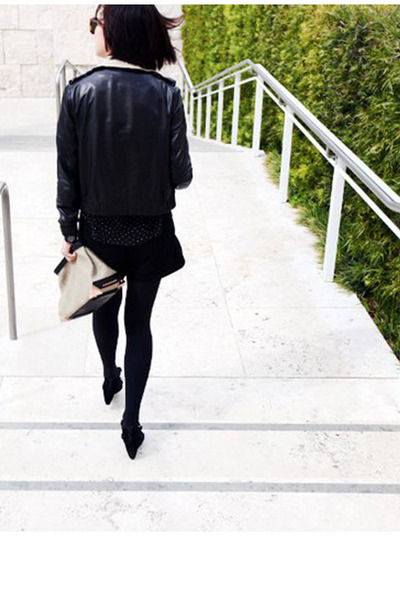 black leather Phillip Lim jacket - tan burlap Alexander Wang bag