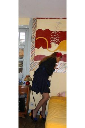 Lola Ramona shoes - navy no brand dress - black psycho monte carlo blazer - navy