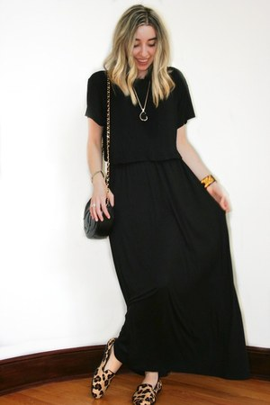 black crop top H&amp;M t-shirt - black maxi Forever 21 dress