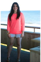 salmon neon JCrew sweater - white frayed JCrew shorts
