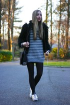 black fur sleeved Zara jacket - silver asos shoes