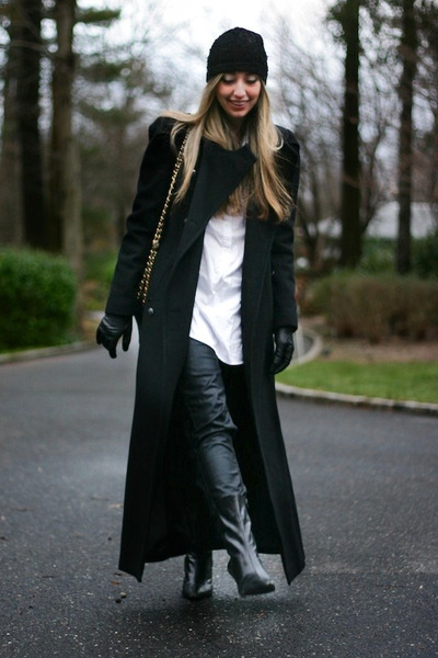 black long Ralph Lauren coat - black coated J Brand jeans
