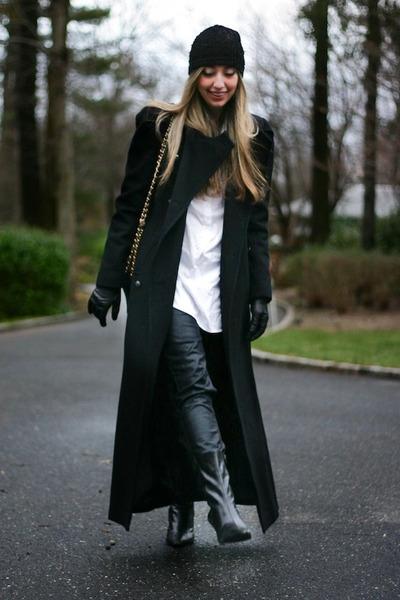 black long Ralph Lauren coat - black coated J Brand jeans