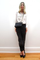 dark gray jogging pant asos pants - black vintage Chanel bag