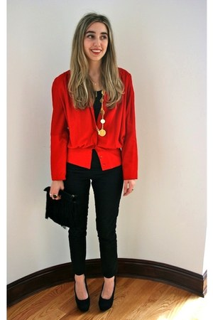ruby red suede vintage jacket - black skinny J Brand jeans