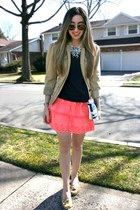 bubble gum eyelet J Crew skirt - nude utility Gap jacket - navy J Crew sweater