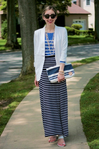 black maxi skirt BCBG skirt - white Forever 21 blazer - blue striped JCrew shirt