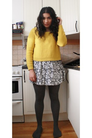 dress - H&M sweater - knitted H&M stockings