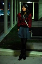 sweater - shirt - skirt - boots - purse - tights