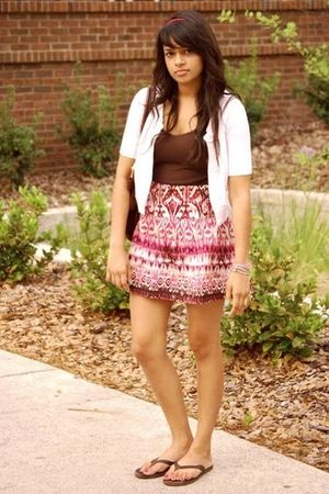 cardigan - skirt - shoes - purse - top