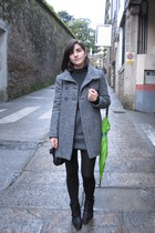 black Zara boots - black Calzedonia tights - gray Zara dress - gray Zara coat -