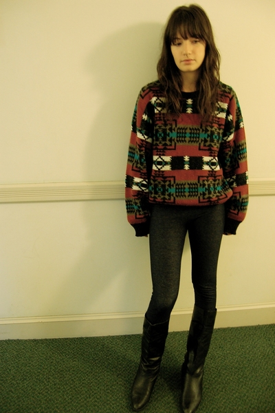 second hand sweater - see you monday pants - second hand boots