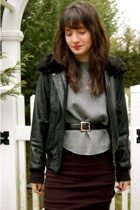 Theory jacket - American Apparel skirt - Dr Martens boots