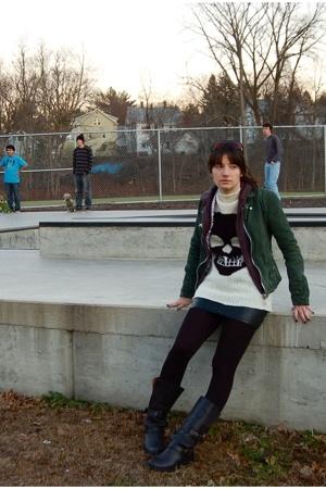 H&M skirt - trash & vaudeville sweater - Steve Madden boots - Doma jacket