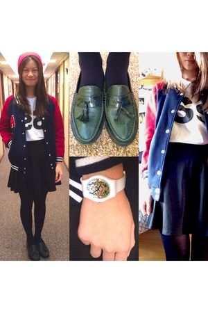 black unknown skirt - red H&M hat - dark green Topshop loafers