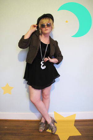 brown Macys jacket - black vintage dress - gray JC Penney shoes - silver thrifte