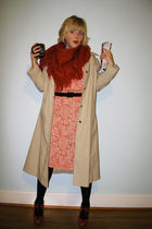beige thrifted coat - orange thrifted dress - red thrifted scarf - red miz mooz