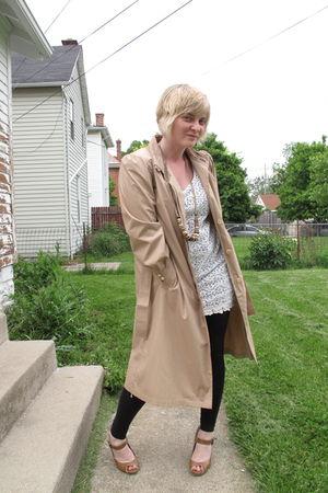 beige thrifted coat - white Forever 21 dress - black Old Navy leggings - brown J