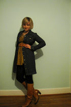 brown Frye boots - black Target tights - blue dress - gold Victorias Secret dres