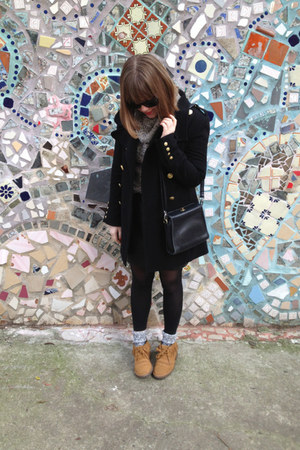 black Forever 21 coat - tawny Jcrew boots