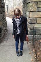 black H&M boots - black Forever 21 coat - navy BDG jeans