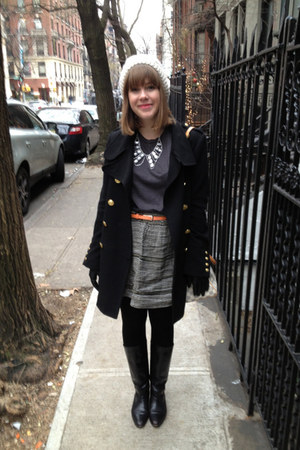 black seychelles boots - black Forever 21 coat - ivory Forever 21 hat