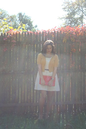 ivory Forever 21 dress - gold Target cardigan