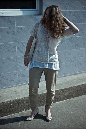 white cream lindex blouse - white shoes - white canvas bag - white H&M top
