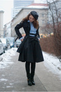Black-kira-plastinina-skirt-blue-stradivarius-shirt-blue-sisters-coat-blac