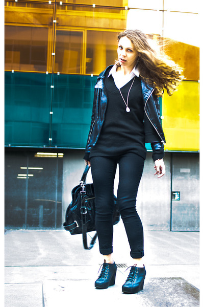 black jacket - black shoes - black leggings - white shirt - black bag