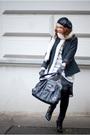 Black-brandless-hat-black-primark-blazer-gray-zara-sweater-gray-orsay-skir