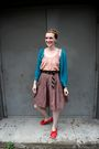Red-anthropologie-shoes-blue-sweater-gold-penguin-shirt-brown-old-navy-ski