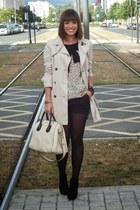 beige cotto Zara coat - beige leather bag