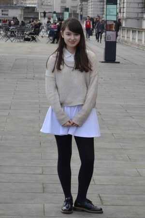white H by Henry Holland skirt - black Office shoes - beige H&M jumper