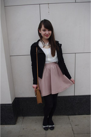 light pink leatherette H&M skirt - black Forever21 jacket