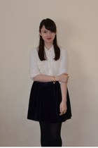 navy velvet Ebay skirt - ivory new look shirt