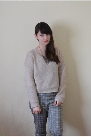 heather gray Uniqlo pants - off white H&M sweater