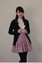 ivory Shikha London dress - black M&S cardigan - pink Monsoon skirt
