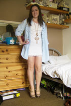 blue Topshop shirt - white Internacionale dress - gold River Island necklace - g