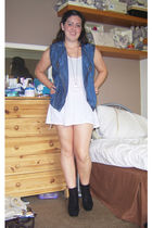 blue Miss Selfridge vest - white Topshop top - black Chockers shoes