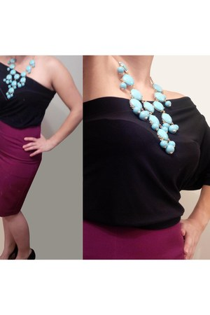 black shirt - sky blue statement le chateau necklace - magenta skirt